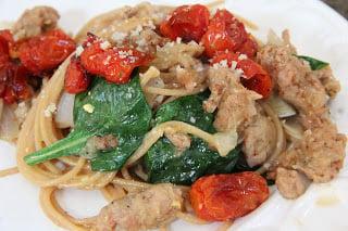 Spinach & Roasted Tomato Carbonara Recipe, Dinner Tonight: Spinach & Roasted Tomato Carbonara