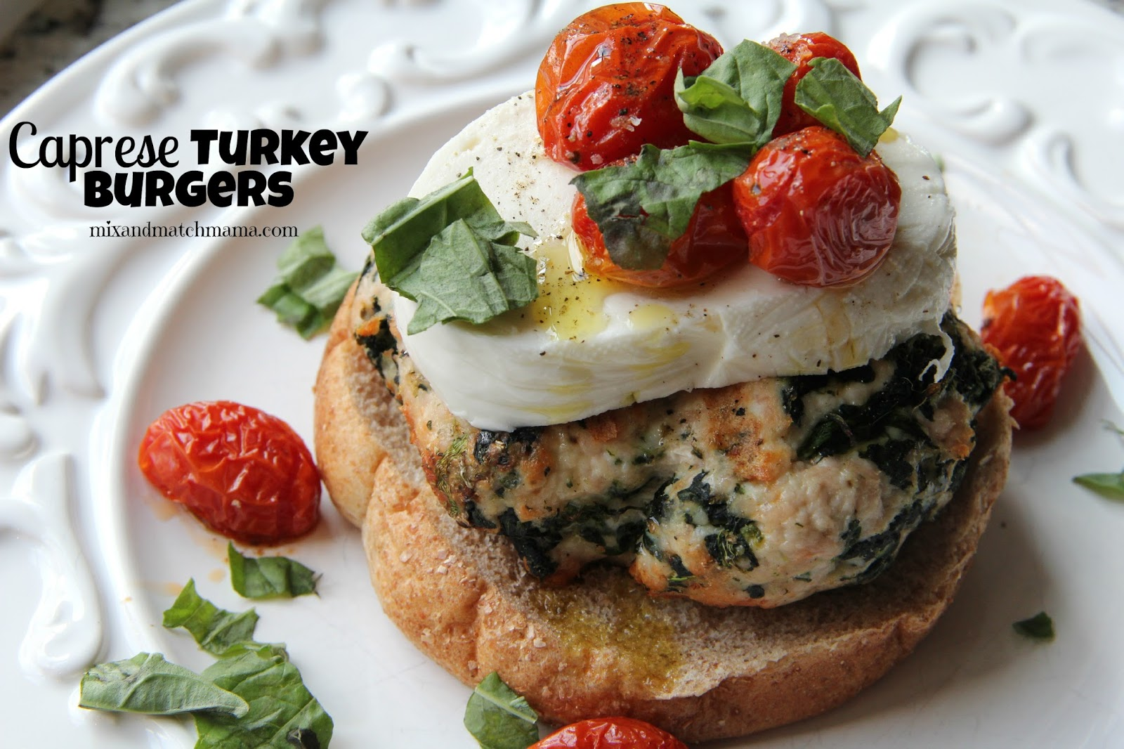 Dinner tonight caprese turkey burgers mix and match mama for How long to cook turkey burgers in oven at 400