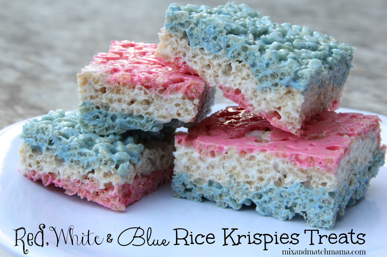 Red White And Blue Rice Krispies Treats Mix And Match Mama