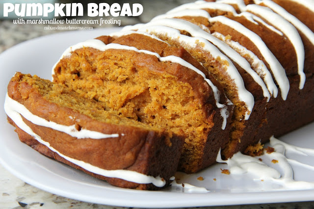 Pumpkin Bread With Marshmallow Buttercream Frosting Recipe, Pumpkin Bread with Marshmallow Buttercream Frosting