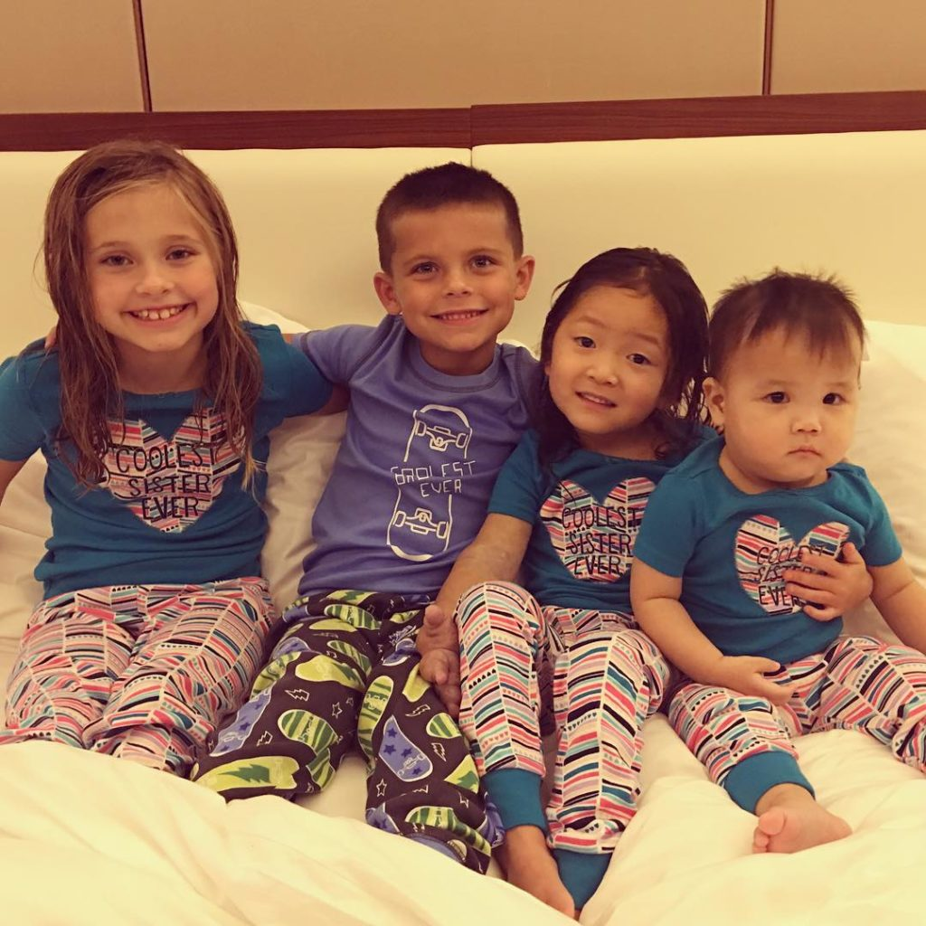 One, two, three, FOUR Shull kids in a row ❤️. Meet our newest little girl, Madeley James (pronounced made-lee). Our hearts are just bursting over here in China . God is so good and adoption is SO AMAZING! Thank you Lord for our precious kids. ❤️ #adoptionisamazing #adoptingmadeleyjames #oneless #twoless