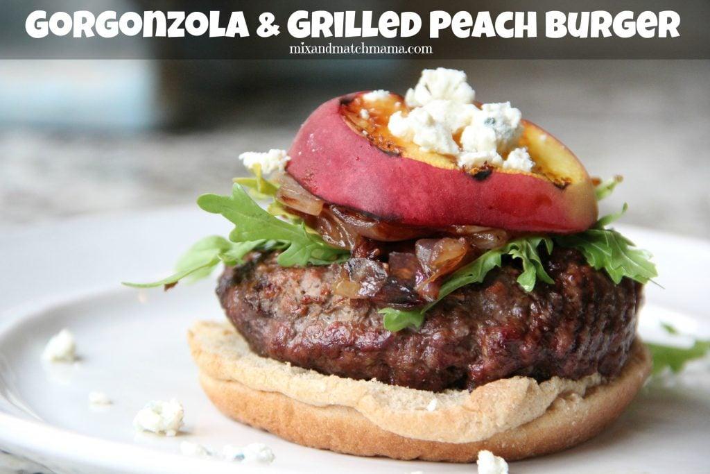 Gorgonzola & Grilled Peach Burgers