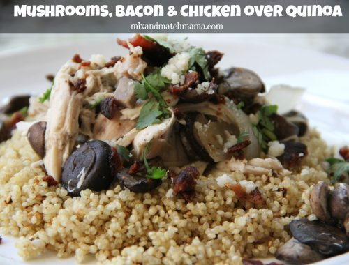 Mushrooms, Bacon & Chicken over Quinoa