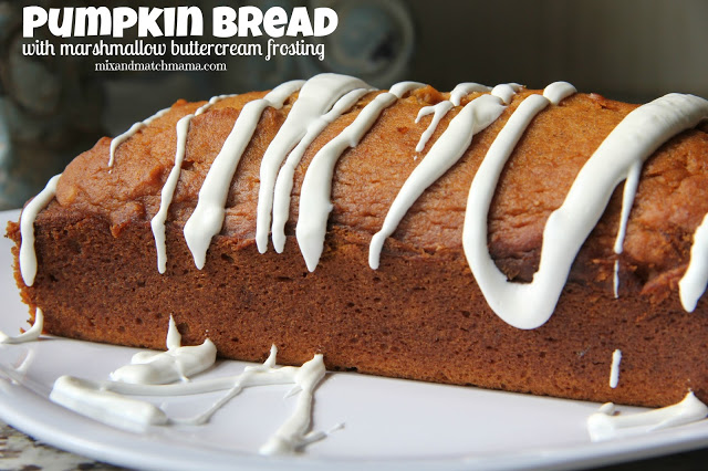 Pumpkin Bread with Marshmallow Cream Cheese Frosting