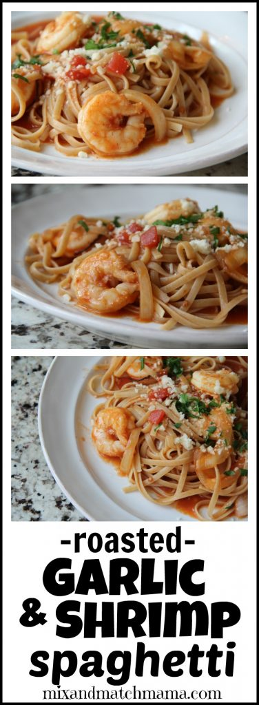 Roasted Garlic & Shrimp Spaghetti