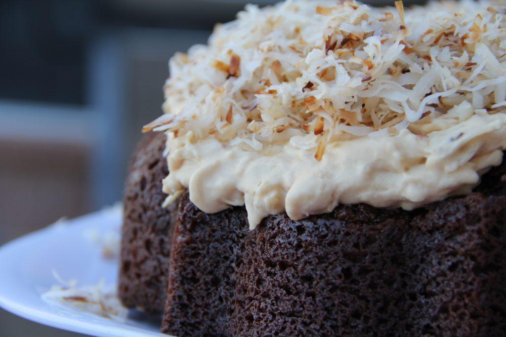 Chocolate Caramel Macaroon Bundt Cake