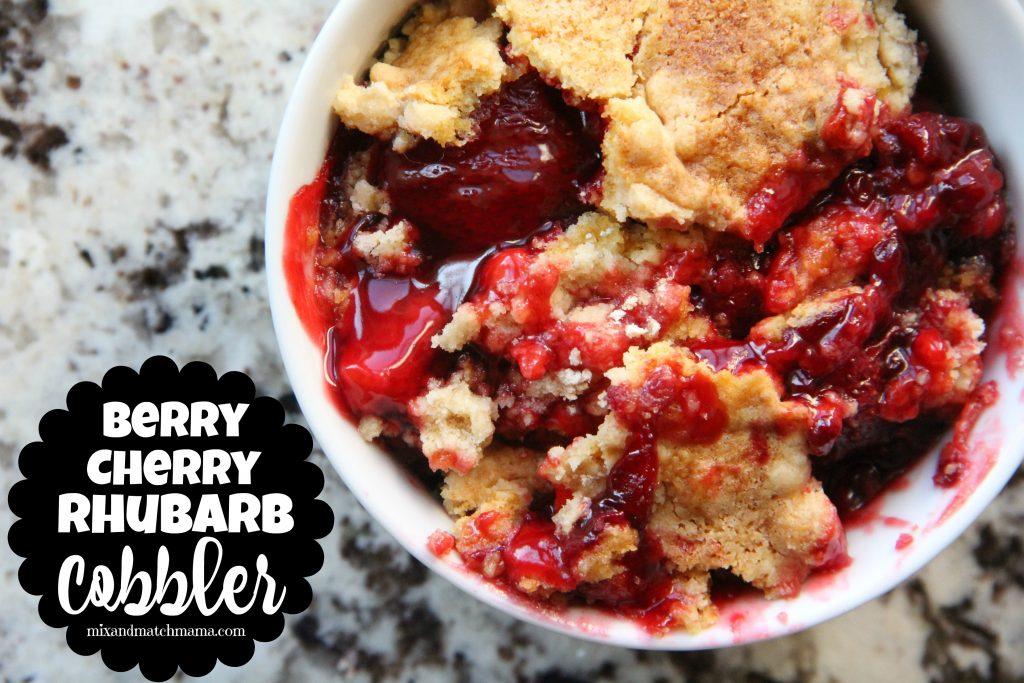 Berry Cherry Rhubarb Cobbler