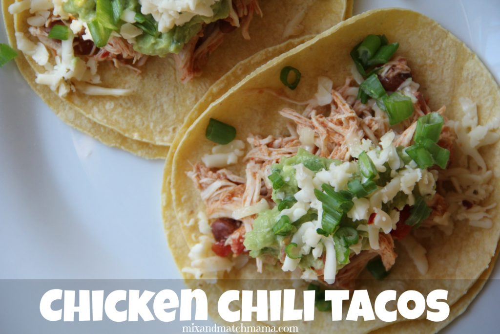 Chicken Chili Tacos {in the slow cooker!} | Mix and Match Mama