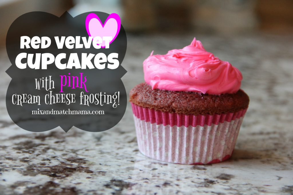 Red Velvet Cupcakes with Pink Cream Cheese Frosting