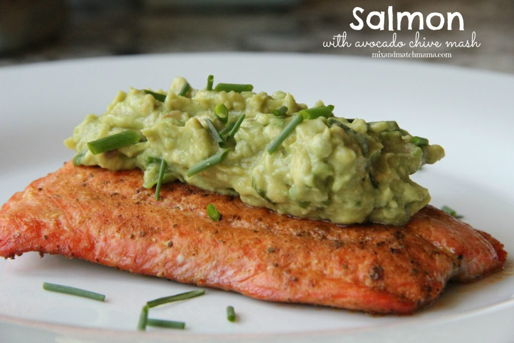 Salmon with Avocado Chive Mash