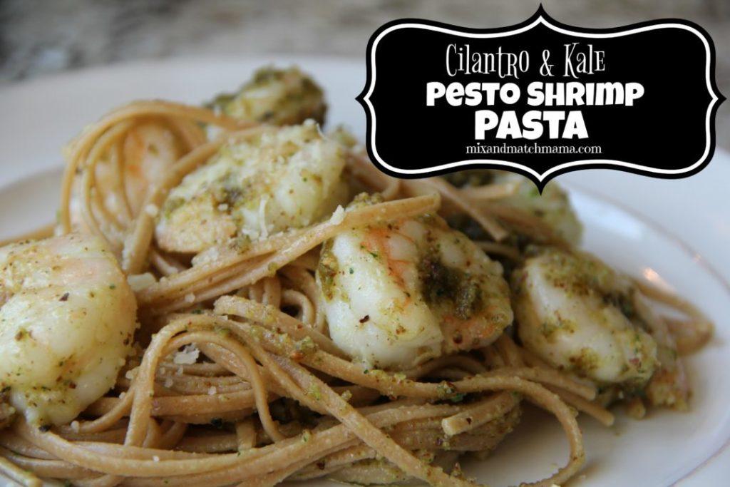 Cilantro & Kale Pesto Shrimp Pasta
