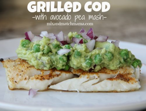 Grilled Cod with Avocado Pea Mash