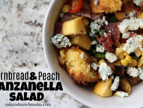 Cornbread & Peach Panzanella Salad