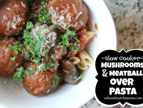 Slow Cooker Mushrooms & Meatballs over Pasta