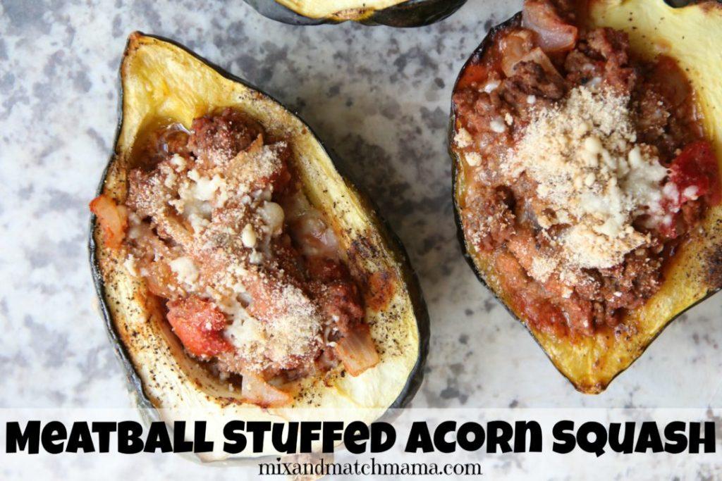 Meatball Stuffed Acorn Squash