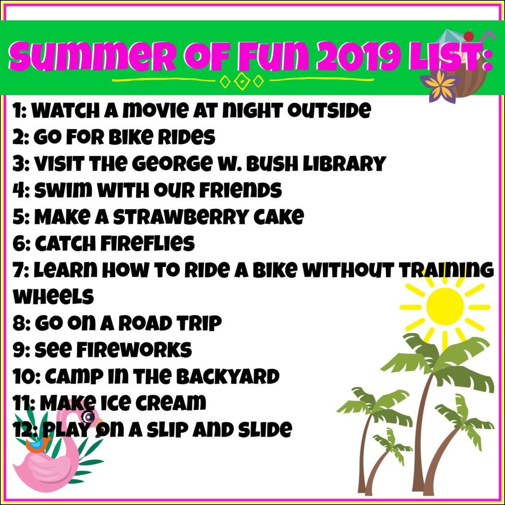 Summer of Fun List